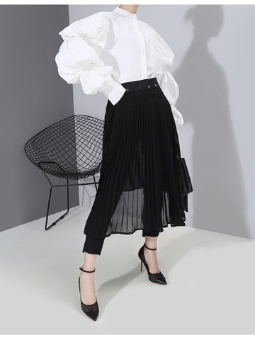 Black Pleated Splicing Skirt - Zebrant