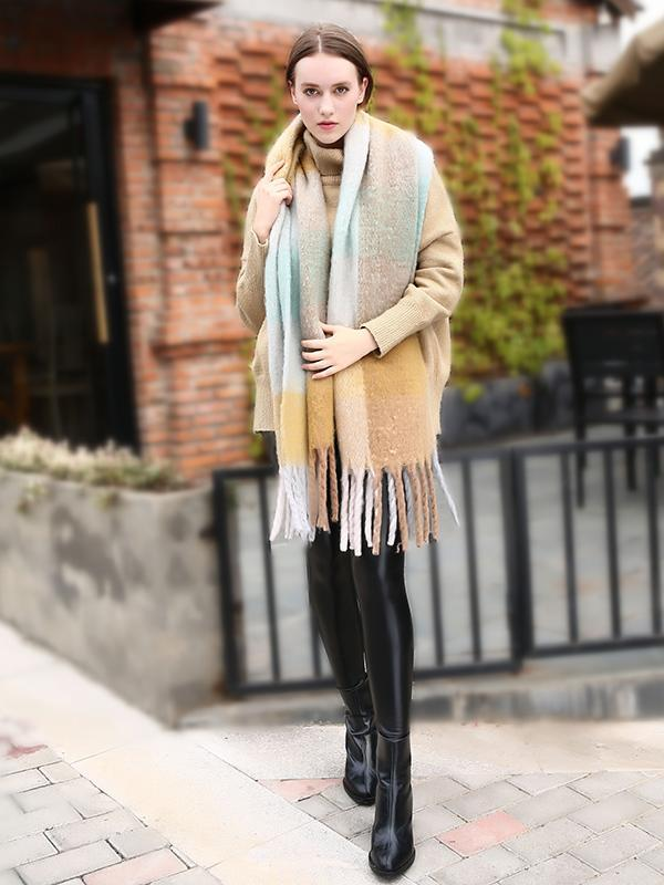 Casual Plaid Scarf with Tassels, Five Colors - Zebrant