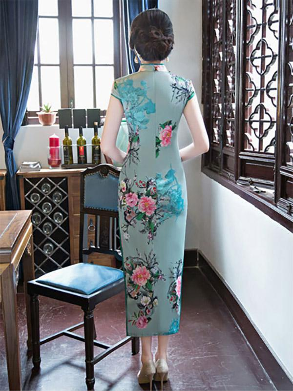 Green Peony-print Split-side Long Cheongsam - Zebrant