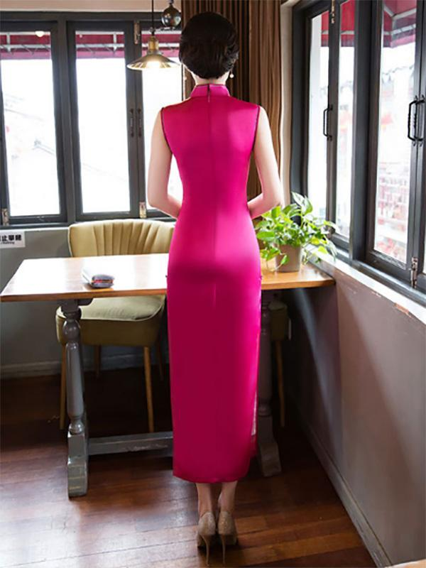 Hollow Embroidered Stand-collar Long Cheongsam - Zebrant