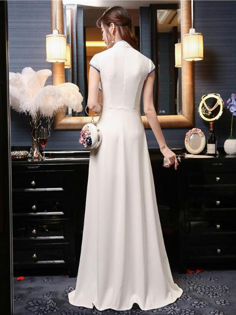 White Embroidered Evening Dress Long Cheongsam - Zebrant