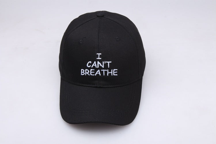 I can't breathe cotton baseball cap leisure sports hat embroidery - Zebrant