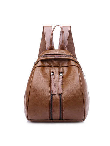 Women PU Leather Multi-pocket Backpack Solid Shoulder Bag