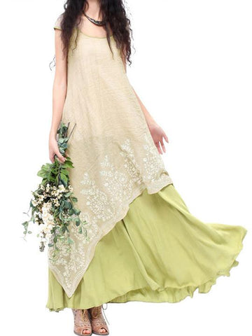 Embroidered Cropped Ramie Cotton Long Dress