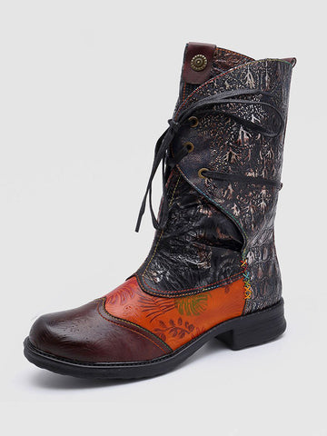 Vintage Retro Stitching Craft Comfortable Mid Calf Boots