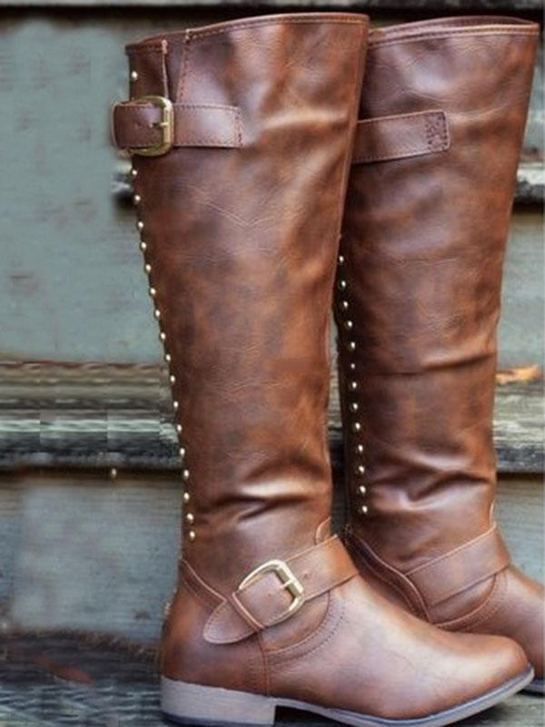 Fashion Thigh-high Rivet Low-heel Zipper Boots Shoes - Zebrant