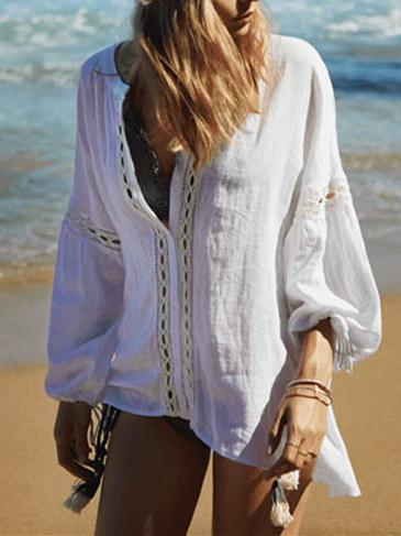 Casual White Puff Sleeves Blouses - Zebrant