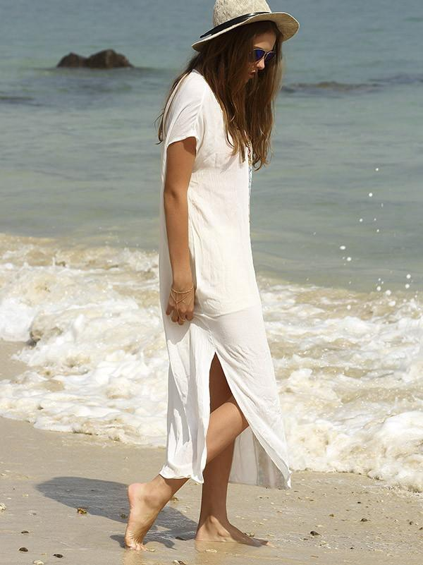 Casual Beach Floral Ornament Long Dress in White Color - Zebrant
