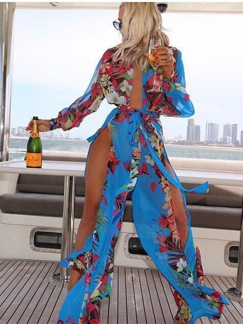 Chiffon Floral-Print Long Sleeve Deep V Neck Side Split Maxi Dress - Zebrant
