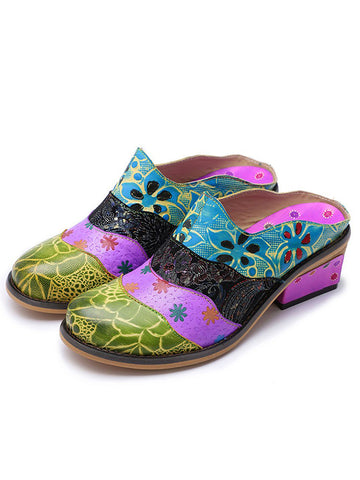 Splicing Genuine Leather Print Slipper Retro Sandals