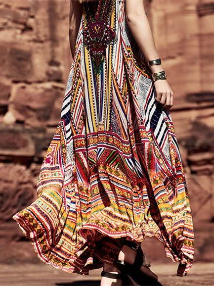 Casual Light Long Dress with Ornament Colorful Print - Zebrant