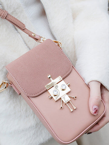 Women Robot Casual Crossbody Bag Solid Phone Bag