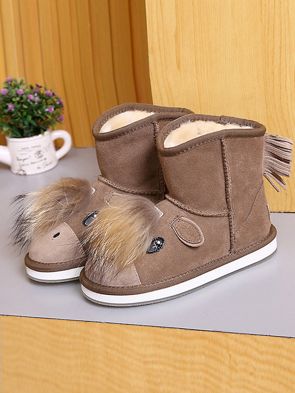 Warm Animal Cartoon Children'S Tube Cotton Boots - Zebrant