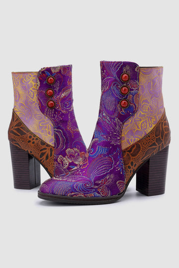Retro Vintage Printed Leather Block High Heels Ankle Boots