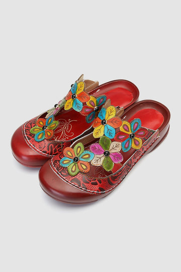 Retro Flower Pattern Handmade Leather Flat Round Head Comfortable Casual Sandals