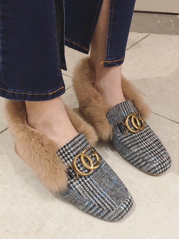 Metal Buckle Plus Shoes with Artificial Fur