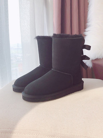 Plus Velvet Warm Ribbon Bow Wool Boots Uggs - Zebrant