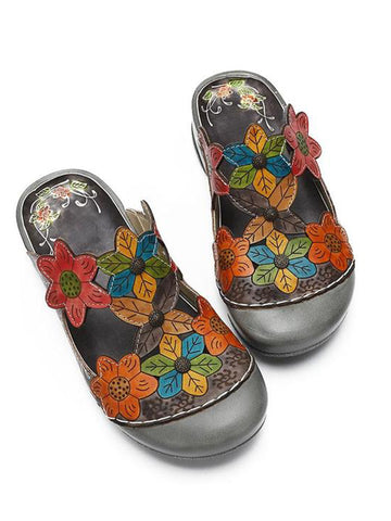 Flower Pattern Handmade Leather Comfortable Casual Sandals - Zebrant