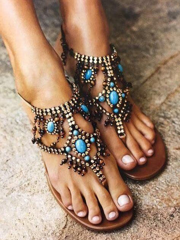 Fashion Vintage Woman Flat Sandals with Gem Decoration