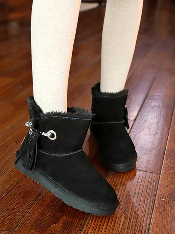 Flat Bottom Velvet Tassel Short Tube Snow Boots Uggs - Zebrant