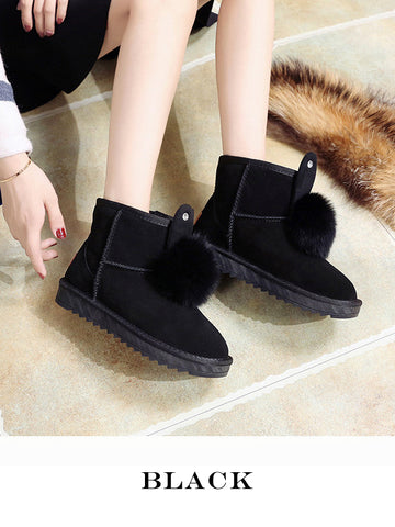 Cute Rabbit Ears Fox Fur Ball Snow Boots Uggs