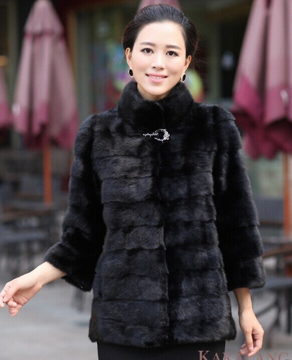 Long Sleeve Artificial  Rabbit Fur Coat - Zebrant