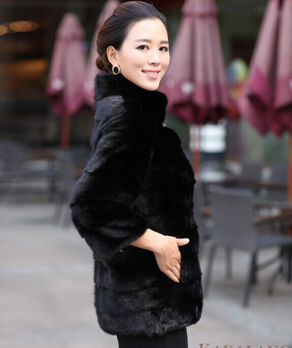 Long Sleeve Artificial  Rabbit Fur Coat