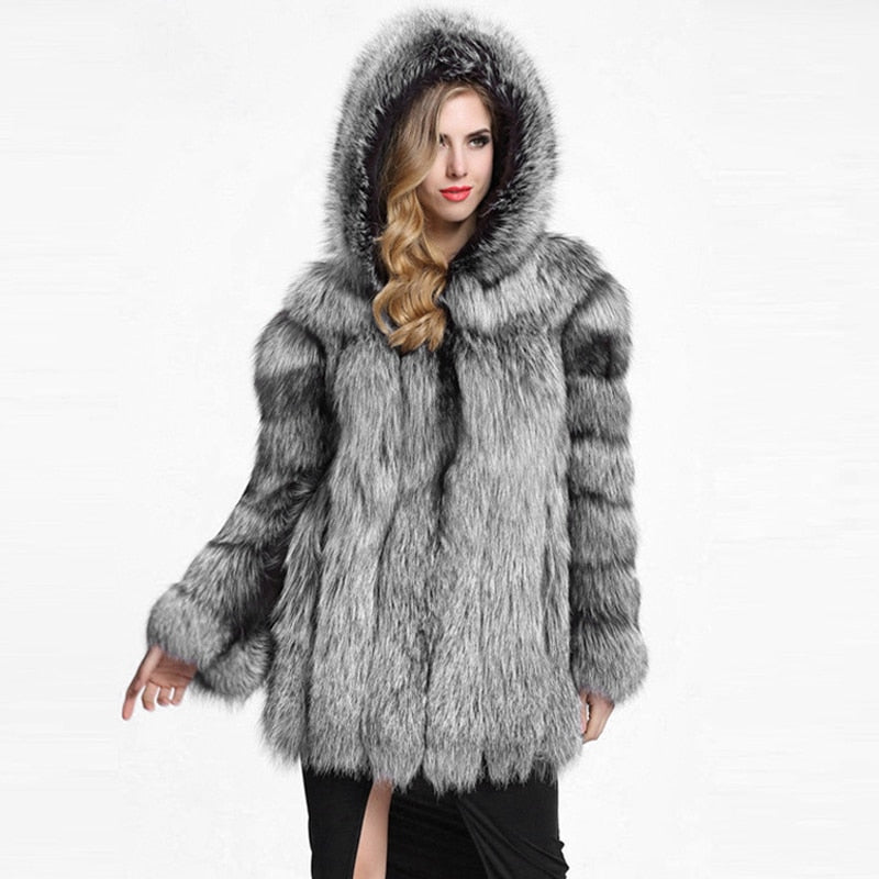 Thick Winter Hooded Jacket Warm Imitation Fur Coat