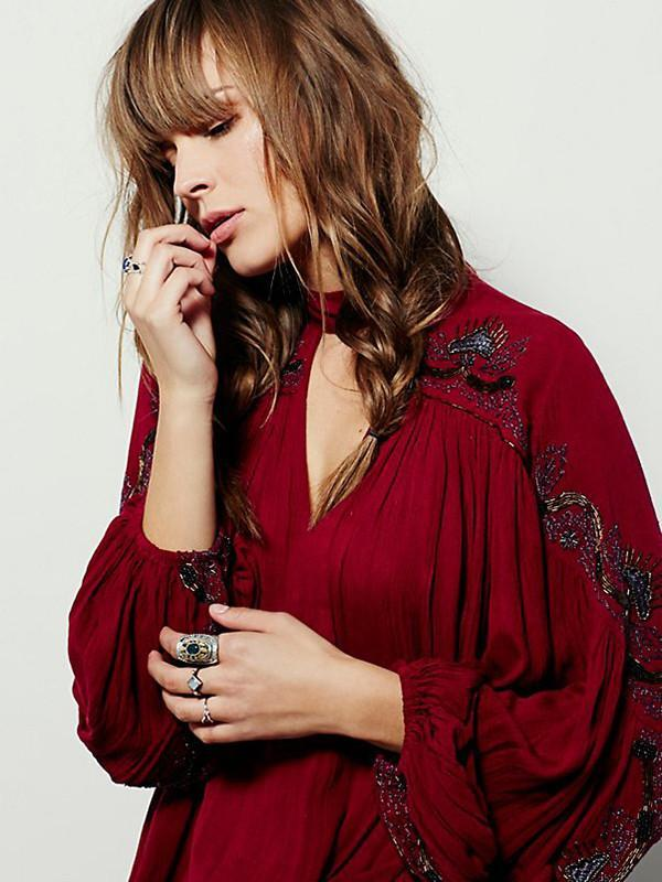 Embroidered Puff Sleeves V-neck Blouse - Zebrant