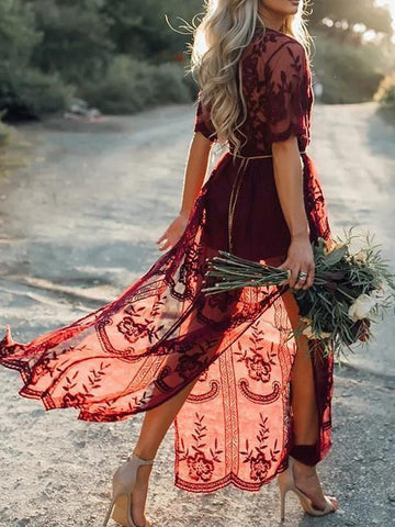 Pretty Sexy Lace Solid Color Short Sleeve Deep V Neck Side Split Maxi Dress - Zebrant