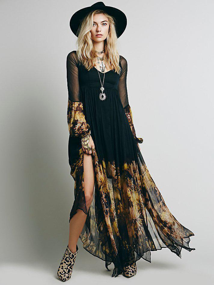Elegant Chiffon Floral-Printed Ruched Maxi Dress