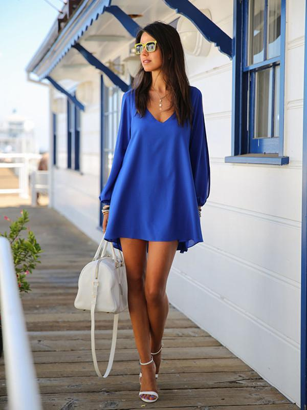 Chiffon Solid Color V Neck Mini Dress