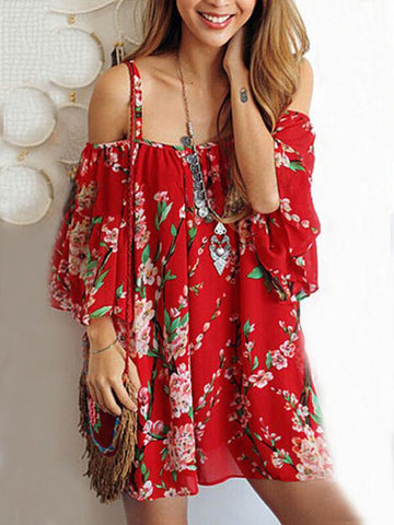 Chiffon Red Floral Mini Dress