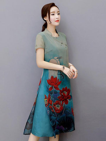 National Beautiful Dress with Lotus Scene Print - Zebrant