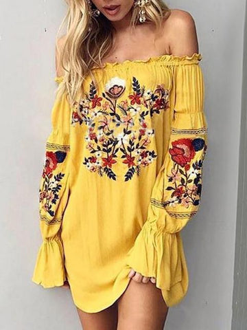 Bohemia Floral-Printed Off-the-shoulder Puff-sleeves Mini Dress - Zebrant