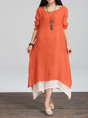 Loosen Long Casual Dress, Three Colors
