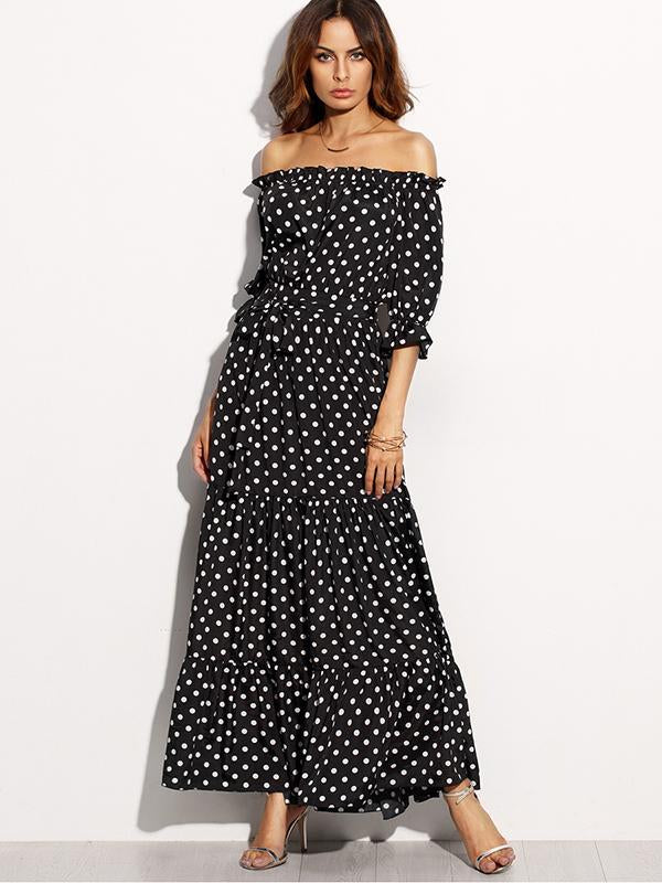 Open Shoulder Long Black Dress with White Spots - Zebrant