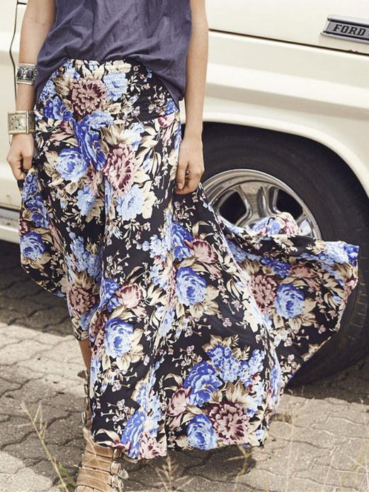 Full-length Loosen Vintage Skirt with Floral Print - Zebrant
