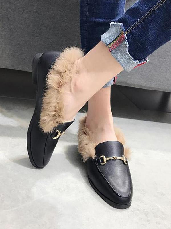 Solid Color Faux Fur Flat Shoes - Zebrant