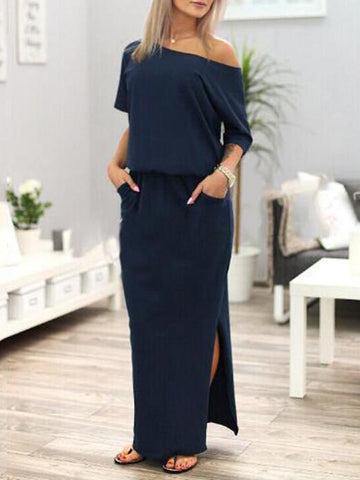 Classical V-neck Long Dress, Three Colors - Zebrant