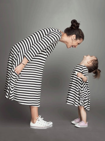 Half Sleeves Parent-Child Casual Dress in Stripes - Zebrant