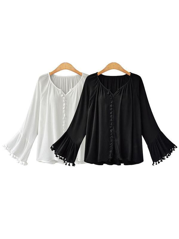 Vintage V-Neck Blouse with Broad Long Sleeves, Two Colors - Zebrant