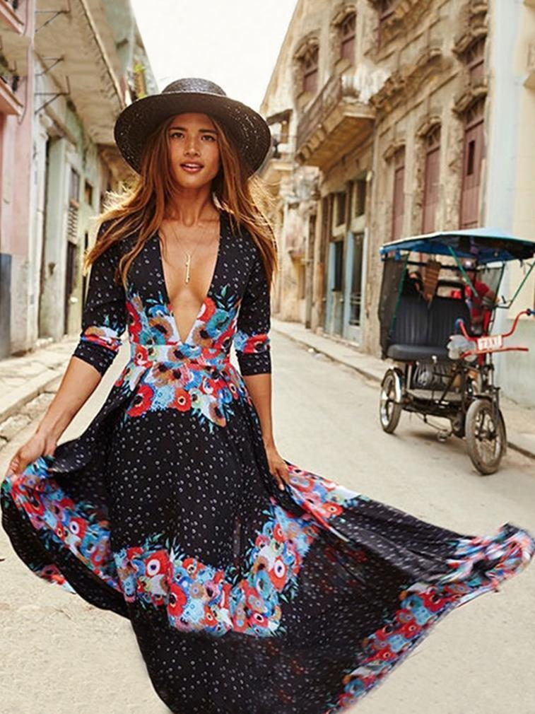 Bohemia Floral Deep V-neck Long Dress