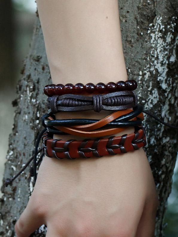 Gothic Leather and Beads Vintage Bracelet