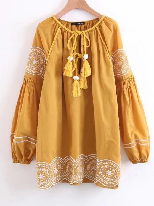 Embroidered Tasseled Puff Sleeves Mini Dress - Zebrant