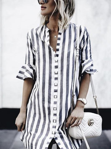 Black and White Stripes Round Collar Casual Blouse