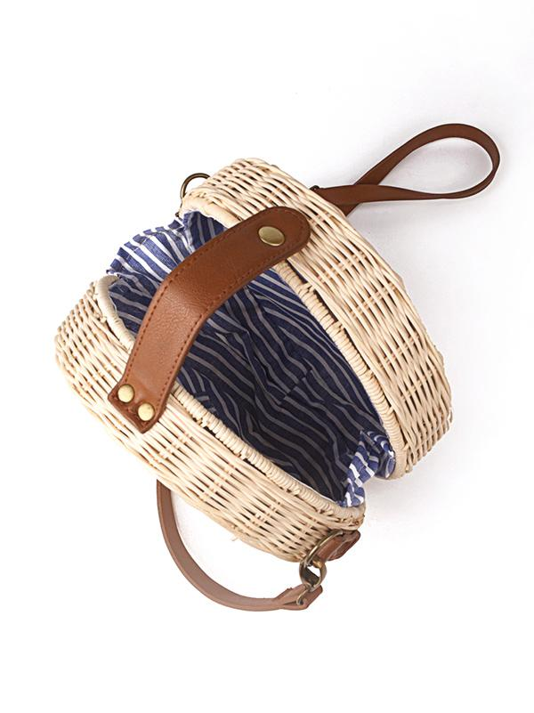 Handmade Round Straw Plaited Article Bag - Zebrant