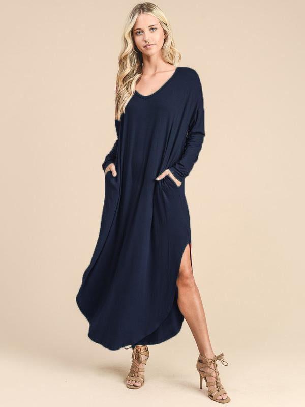 Casual Solid Color Split-side Maxi Dress - Zebrant