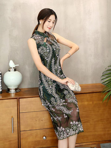 Lace Embroidered Long Cheongsam Midi Dress - Zebrant