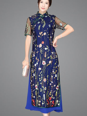 Navy-blue Lace Embroidered Long Cheongsam